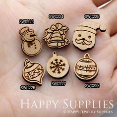 4pcs SWC223-228 DIY Laser Cut Wooden Christmas Series Charms