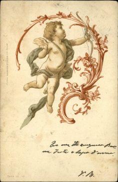 D N Angel, Angel Art, Cherub Tattoo Designs, Rococo Painting, Bow Arrows, Renaissance Art, Gravure, Religious Art, Vintage Prints
