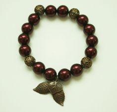 #Garnet #Pearl #Antique #Brass Bead and #Leaf #bracelet / Stretch bracelet / Handmade bracelet / Stacking bracelet #handmade #thecraftstar $15.00