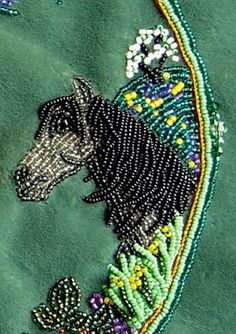 bead embroidery, horse design, Janet Dann