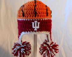 Indiana University Hoosiers Baby Basketball Crochet Ear Flap Hat - Available in Newborn to Toddler - IU