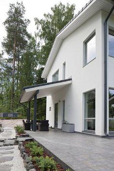 Kivillä ilmettä pihaan, lisää ideoita www.lammi-kivitalot.fi My Dream Home, Outdoor Ideas, Outdoor Decor, Entrance, House Plans, Pergola, Sweet Home, Architecture, Garden