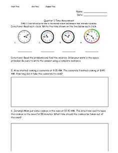 This is a grade 3 common core math assessment. 3MD1 requires students to tell time to the nearest minute and measure time intervals in minutes. ... Free