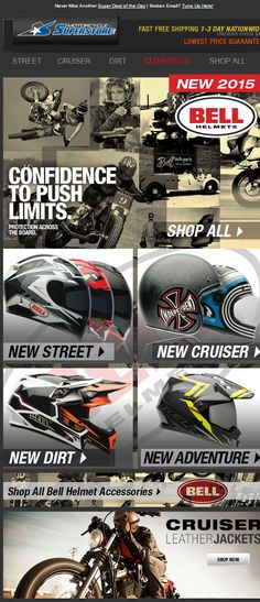 New Product Line Launch with 4 segments highlighted in one email. Footer at the bottom is dynamic based upon segmentation. SL: Push Limits | New Bell Helmets