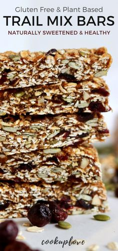 Trail Mix Bars are a great homemade on-the-go snack made with only whole ingredients & no preservatives! Healthy Breakfast Snacks, Breakfast Bars, Healthy Food, Dessert Healthy, Trail Mix Recipes, Snack Recipes, Vegan Recipes, Homemade Trail Mix, Vegan Protein Bars