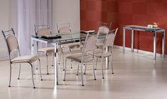 Conjunto para Sala de Jantar com Mesa com Tampo de Vidro, 6 Cadeiras e Aparador Maya Cromado/Camurça Bege - Brastubo
