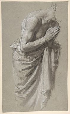 Study for Clovis (middle register; study for wall paintings in the Chapel of Saint Remi, Sainte-Clotilde, Paris, 1858) Isidore Pils  (French, Paris 1813/15–1875 Douarnenez) 19th century Black chalk, white chalk, on gray paper, stumped 15 1/16 x 9 1/8 in. (38.4 x 23.1 cm)
