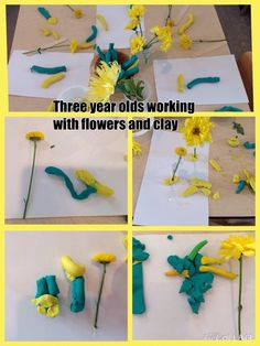 Flowers clay and three year olds