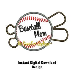 DD Baseball & Bat - Machine Embroidery Applique - 5x7 Hoop - 2 Designs - Instant Download