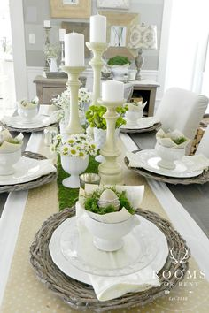 From the vintage-inspired place settings to the daisies and white candlesticks, this simple, layered look is lovely for Easter. Get the tutorial.