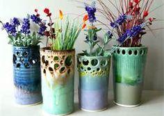 Wheel Thrown Hand Carved Ceramic Vase Set