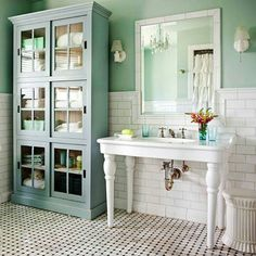 """New Country"" Bathroom Decorating. Love this cute little bathroom. Love the cabinet"