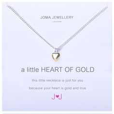 Dainty ladies Joma jewellery a little heart of gold silver necklace £11.99 from Lizzielane.com http://www.lizzielane.com/product/joma-jewellery-little-heart-gold-silver-necklace/