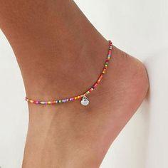 ELLU Pink Anklet Ankle Bracelet Foot Chain Womens Girls Ladies Shell Beaded Jewellery