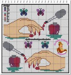 Polish nails x-stitch