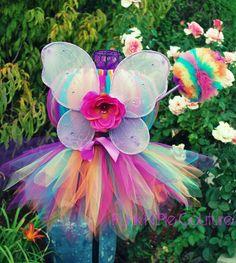 Rainbow Butterfly Fairy Pixie Cut Tutu Dress Set Infant - 5T. $50.00, via Etsy.
