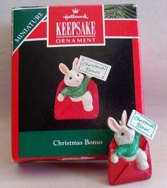 """Hallmark Keepsake Miniature Ornament, """"Christmas Bonus"""", 1992."""