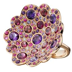 """""""Firefly"""" Multi Gem Gold Ring with amethyst, purple sapphire, pink tourmaline, diamond and rubellite"""