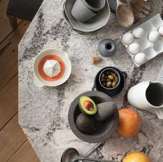 We have many varieties of like this one from Cambria. Elevate any style of table with serving pieces in a shades-of-gray palette that is just right for any occasion & any season. Cambria Quartz Countertops, Grey Palette, American Made, Innovation Design, Home Appliances, Plates, Tableware, Gray, Style
