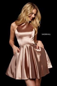 Sherri Hill 52254 silk charmeuse cocktail dress with high neck bodice and cut out back. - Short Dresses - Sherri Hill 52254 silk charmeuse cocktail dress with high neck bodice and cut out back. Hoco Dresses, Satin Dresses, Silk Dress, Sexy Dresses, Casual Dresses, Dresses With Sleeves, Summer Dresses, Wedding Dresses, Formal Dresses
