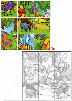 Jigsaw Puzzle with Insects Toddler Learning Activities, Baby Learning, Montessori Activities, Kindergarten Activities, Book Activities, Preschool Puzzles, Jigsaw Puzzles For Kids, Printable Preschool Worksheets, Printable Puzzles
