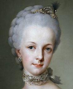 Maria Josepha (Tochter von Maria Theresia)  auf ihrem Brautbild (Ausschnitt), dass von Mengs 1767 im Auftrag von Carlos III. von Spanien gemalt wurde, da sie seinen Sohn Ferdinand IV. von Neapel-Sizilien heiraten sollte. Original im Prado-Museum, Madrid.