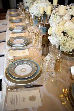 Tabletop Design || gold & light blue || Baltimore Bride Aisle Style Wedding Event || Stephanie Bradshaw, A Creative Studio || Photography Meghan Elliott