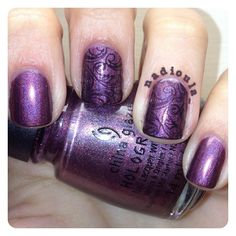 China Glaze When Stars Collide stamped using Cheeky Princess Charming Jumbo Plate 8 in OPI Black Onyx.