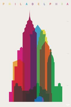 Fom Mellon to the Clothespin, London-based graphic designer Yoni Alter draws the Philadelphia skyline to scale in his colorful Shapes of Cities series. Philadelphia Skyline, Philadelphia Neighborhoods, Tour Eiffel, Tour Montparnasse, Singapore Art, Scale Art, Canvas Prints, Art Prints, Silhouette