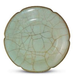 A Guan ware foliate dish, Southern Song Dynasty, Collection of the National Palace Museum, Taipei.