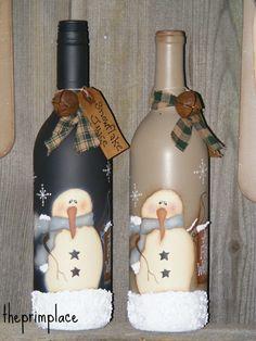 Primitive Snowman Decor-Handpainted Snowman Wine Bottle-Winter Decor