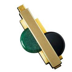 18kt gold, onyx and aventurine Art Deco Pendant : Gerard Sandoz c1970's France