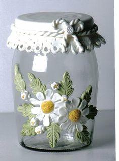 botellas decoradas con arcilla polimerica -