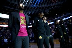 Golden State Warriors  DeMarcus Cousins Andre Iguodala and Klay Thompson  from left stand during the playing of the National Anthem before the start. 6eb82afa0