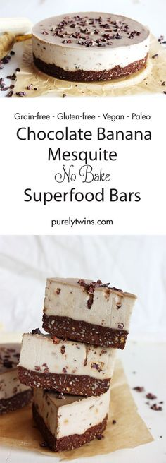 A beautifully creamy, raw vegan chocolate banana bars with a touch of mesquite and tahini. An usual and stunning combination. Simple ingredients to create a deliciously easy superfood dessert recipe. Come and see how to make (video follow along) this No Bake Chocolate Banana Mesquite Bar recipe.