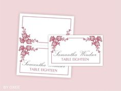 Printable wedding place card template  Dusty Pink roses by Oxee, $7.00