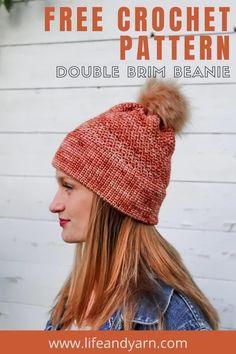 Easy Beginner Crochet Patterns, Beginner Crochet Projects, Crochet Poncho Patterns, Crochet Ideas, Crochet Santa Hat, Chunky Crochet Hat, Crochet Hats, Chunky Knits, Beanie Pattern Free