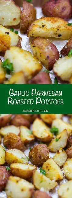 Parmesan Roasted Potatoes Garlic Parmesan Roasted Potatoes - Perfectly seasoned and crispy oven-roasted potatoes.Garlic Parmesan Roasted Potatoes - Perfectly seasoned and crispy oven-roasted potatoes. Side Dish Recipes, Vegetable Recipes, Vegetarian Recipes, Dinner Recipes, Cooking Recipes, Healthy Recipes, Vegetarian Breakfast, Microwave Recipes, Protein Recipes