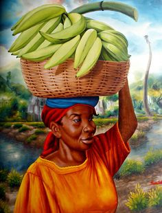 Mujer haitiana en la cosecha de plátanos