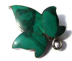 SOLD. Antique Victorian malachite & silver leaf brooch, Scottish, sterling silver, ivy leaf design, 'c' clasp, Victorian pebble jewellery. https://www.etsy.com/transaction/1011403868