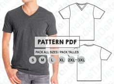 PATTERN T-Shirt Collar V for Men Sewing Pattern Digital | Etsy Mens Sewing Patterns, Sewing Men, Sewing Shirts, Free Sewing, Sewing Clothes, Diy Clothes, Finding A New Hobby, Easy Sewing Projects, Sewing Basics