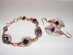 Copper Wire Fashion Jewelry Set Earings Bracelet by LoveLaly