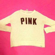 """NWOT VS Pink knit sweater NWOT super soft fizzy knit sweater from VS pink. Size M. Has felt letters that say """"pink"""" across the middle. Has small pink logo at the bottom. Cream/ivory color. No trades  PINK Victoria's Secret Sweaters Crew & Scoop Necks"""