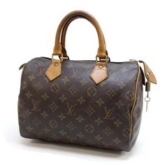 Louis Vuitton Speedy 25 Monogram Handle bags Brown Canvas M41528