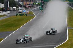 Nico Rosberg (GER) Mercedes AMG F1 W05 leads Lewis Hamilton (GBR) Mercedes AMG F1 W05. Formula One World Championship, Rd15, Japanese Grand Prix, Race, Suzuka, Japan, Sunday, 5 October 2014