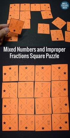 This Mixed Numbers and Improper Fractions Square Puzzle is fun for students and easy for teachers! This activity works in centers, but also fits in an interactive notebook. Learning Fractions, Improper Fractions, Fractions Worksheets, Multiplication, Teaching Math, Dividing Fractions, Pizza Fractions, Ordering Fractions, Equivalent Fractions