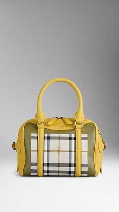 Daffodil yellow The Mini Bee in Horseferry Check - Image 1 Burberry 2015, Burberry Sale, Bowling, Bag Sale, Designer Shoes, Daffodil, Bee, Check, Yellow