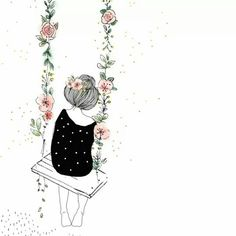 Flowers Ilustrations Girl 28 Super Ideas Susanne Kuhlmann: After the successful referendum to save Cute Drawings, Drawing Sketches, Hand Illustration, Cute Wallpapers, Doodle Art, Cute Art, Art Girl, Flower Art, Watercolor Paintings
