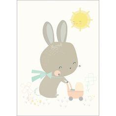 Carte Le Lapin et sa poussette (10.5 x 14.8 cm) - Petite Louise