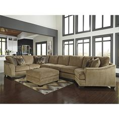 Ashley Lonsdale 2 Piece Right Cuddler Sofa Sectional Set In Barley